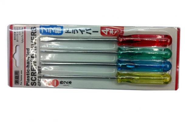 水晶柄4pc螺丝刀家用塑料柄4件套电器维修工具组合