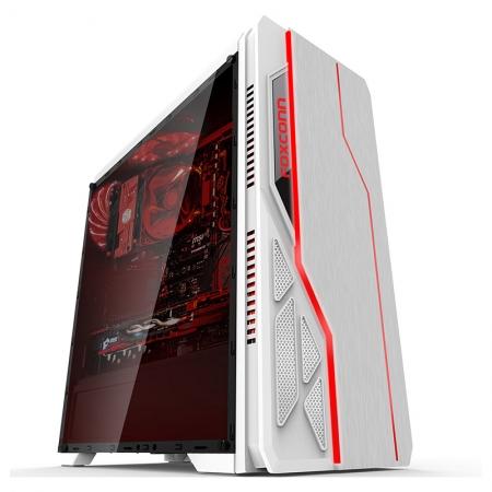 先马极光黑白水冷侧透钢板背部走线USB3.0七彩变光机箱
