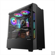 航嘉GX580H 电脑游戏机箱ATX水冷钢化玻侧透防尘静音游戏电竞机箱