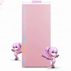 金河田 21+预见 RGB1 冰魄蓝 魔爪粉侧透钢化玻璃机箱 自带RGB灯条