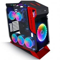 金河田银狐双月电脑机箱台式机钢化玻璃全侧透电竞游戏网吧网咖水冷主机箱