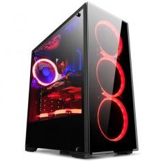 金河田 预见 N17B台式机电脑机箱游戏水冷ATX大板玻璃机箱背线侧透